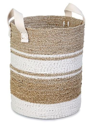 Kanca Ev Seagrass Hasır Derin Yuvarlak Sepet, Örgü İp Saplı, Beyaz-Natürel, Büyük Beyaz